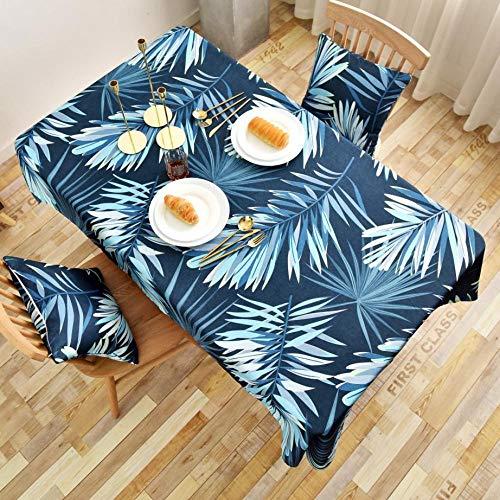 QSYT Tischdecke Abwischbar Wasserdicht Waschbar Pflegeleicht Tischwäsche Tropische Pflanze Muster Streifen Rechteckige...