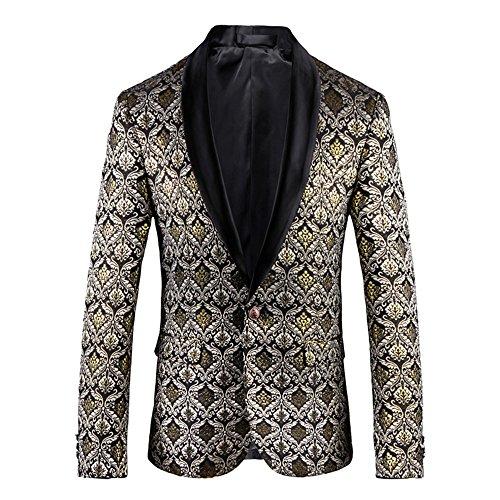 SZRXKJ Männer 3D Plus Größe Anzug Jacken zurück Schnitt britischen Stil Blumen Kette Design Slim Fit Anzug Jacken