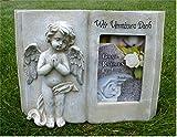 Engel mit Buch für Foto Grabdeko Trauerengel Grabschmuck *Wir vermissen Dich* antik, ca. 28 x 20 cm