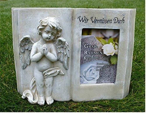 Home3010 Engel mit Buch für Foto Grabdeko Trauerengel Grabschmuck *Wir vermissen Dich* antik, ca. 28 x 20 cm