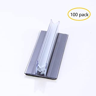 """Retail Store Sign Holder for Fixtures Aisle Shelf Edge Countertop, 1"""" x3"""" T-Style Grip with 3M Adhesive Back (100pack)-Table Number Holder, Photo Holder, Sale Sign Holder Clip"""
