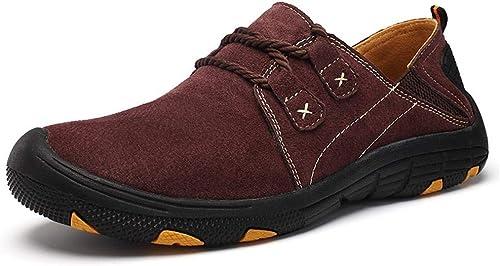 EGS-chaussures Chaussures de Sport pour Hommes. Chaussures de Sport en Plein air. Résistant à l'usure. Antidérapant. Chaussures de Cricket (Couleur   Claret, Taille   43)