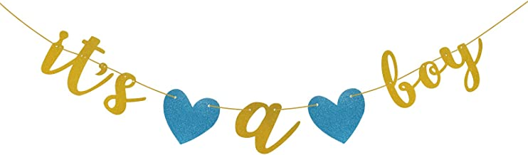 Famoby Gold Glittery It's a Boy Banner for Baby Shower Party