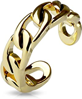 FifthCue Linked Chain Adjustable Rhodium Plated Brass Finger Mid-Ring or Toe Ring