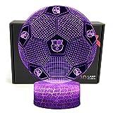 Deal Best Lámpara de mesa LED con forma de fútbol 3D ilusión óptica inteligente de 7 colores con cable de alimentación USB, para aficionados al fútbol de Barcelona regalo