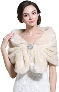 Women's Faux Fur Shawls and Wraps with Brooch Fur Stole Wedding Fur Shrug for Women