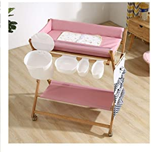 FHKL Infant Changing Table Height Adjustable Baby Bath Tub Unit Rolling Waterproof And Bathe Foldable Newborn 0-2 Years Old Pink
