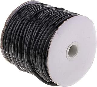 Baoblaze 35 Meters 5mm Black Braided Waxed Cotton Rope Cord Bracelet String Multi-Purpose DIY Crafts