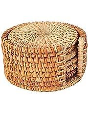 Posavasos Redondos de Madera de Bambú 6 Piezas, Posavasos Trenzados Hechos a Mano Posavasos para Bebidas