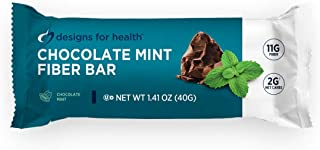 Designs for Health Chocolate Mint Fiber Bars - Coconut Functional Food Bars with Prebiotics, 11g Fiber, 2g Net Carbs + Low...