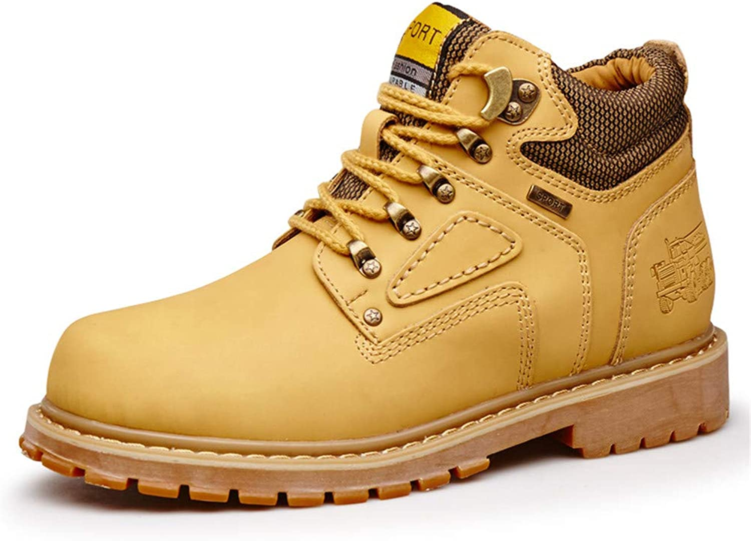 Snow Ankle Boots Men's Stylish comfortable Ankle Boots Casual Classic Round Top High Top Cotton Warm Outsole Work shoes (Conventional optional) Winter Warm Boots (color   Yellow, Size   10 UK)