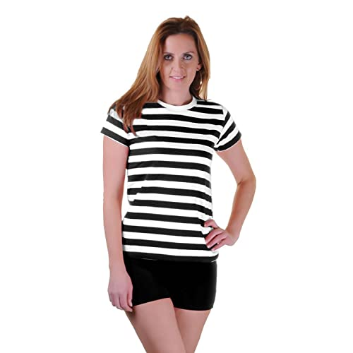 90a9433c43d GirlzWalk Womens Black Red Blue and White Striped Book Week T Shirt Fancy  Top Lot (