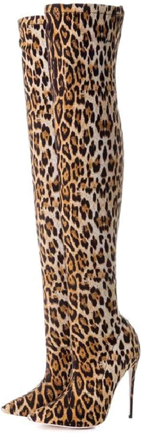 GONGFF Leopard Print Women's Boots,Pointed Over The Knee Large Size Boots