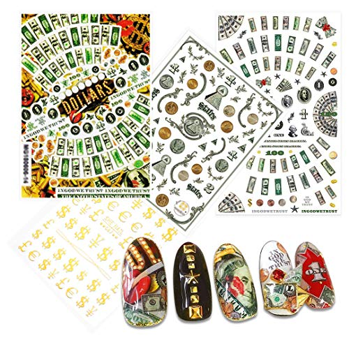 4 Sheets Nail Art Decals of 100 Dollar Sign Bill Nail Accessories Paper Money Design Treasure Currency Nail Stickers Tip
