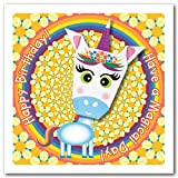 Tarjeta de origami: unicornio de cuerno morado, arcoíris y flor, feliz cumpleaños, ¡ten un día mágico! Cuadrado de 150 mm