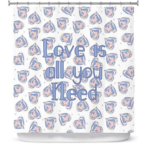 DiaNoche ontwerpen badkamer douchegordijnen door Zara Martina - drijvende harten liefde