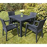 Garden Patio Furniture Set 4 Chairs Table Outdoor Coffee Bistro Set Rattan Style
