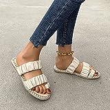 CTEJ Chanclas para Mujer Sandalias con Punta Abierta Calzado Informal Transpirable Zapatos Planos Elegantes sin Cordones Sandalias Bohemias de Verano,E,39