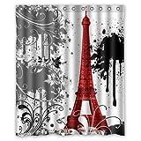 ZHANZZK Red Eiffel Tower Splash Pattern Bathroom Shower Curtain 60x72 Inches