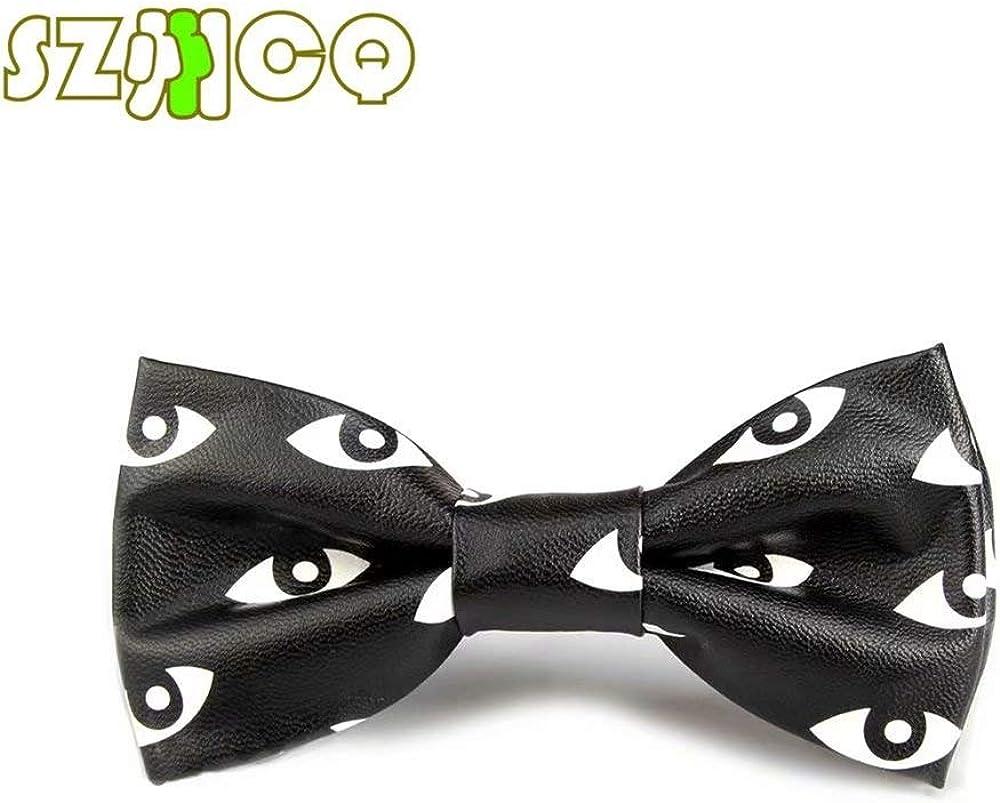 SZCQ New PU Bowtie For Men Leather Polyester Cravat Unique Colorful Plaid Floral Animal PU Bow Tie
