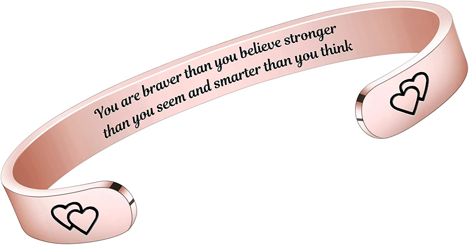 HiStock Inspirational Bracelets for Women Friends Teen Girl Gifts Engraved Mantra Hidden Sisters Message Personalized Cuff Bangle Jewelry Anniversary Birthday Gifts for Her