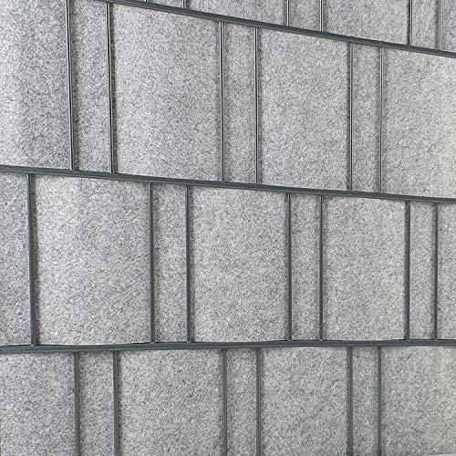PerfectHD Zaunsichtschutz | Sichtschutzstreifen für Doppelstabmattenzaun | Windschutz Sonnenschutz Blickdicht | Polyester Gewebe | PVC frei | Nachhaltig | 26m Rolle | 19cm | Hellgrau | Venezia