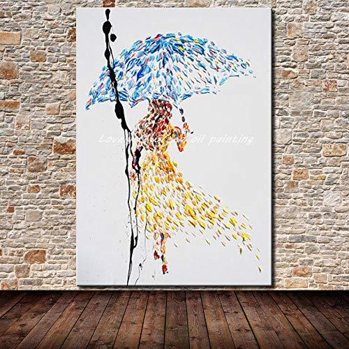 Handgemaltes Ölgemälde auf Leinwand,Mädchen mit blauen Schirm, Vintage alte Groß abstraktes...