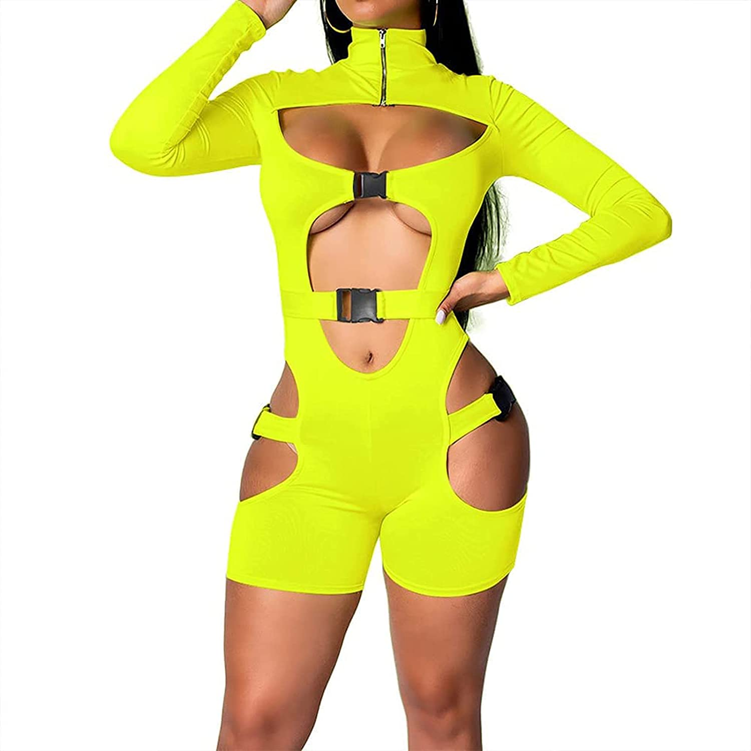 BEYOLO Women's Bodysuit Sexy Long-Sleeved Cutout Jumpsuit, High-Necked Cycling Shorts