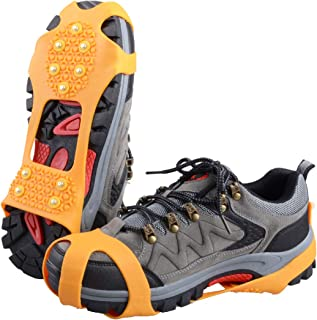 Ice Grips 10 Teeth Anti-Slip Shoe/Boot Ice Traction Slip-on Snow Ice Spikes Crampons Cleats Stretch Footwear Traction