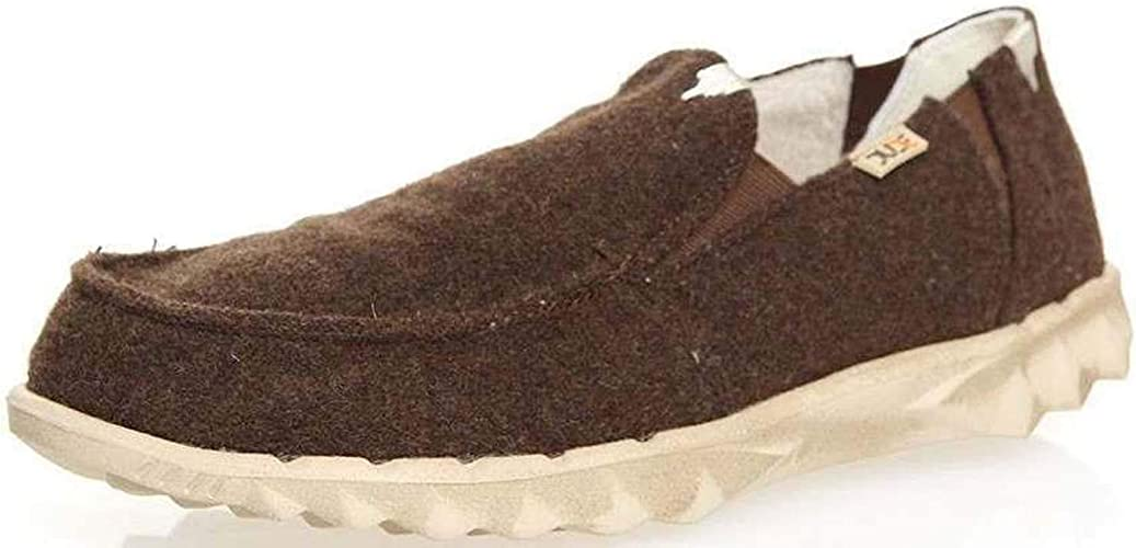 Hey Dude Farty Chalet Chocolate Felt Hommes Slipons Chaussures