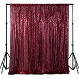 ShinyBeauty Sequin Photo Backdrop Burgundy 6FTx6FT Glitter Curtains Wine Sequin Back Drop Fabric Photography Background Maroon Sequin Wedding