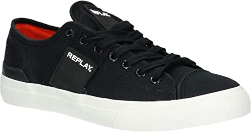 Replay Maple Noir Blanc Hommes Toile Formateurs Formateurs Formateurs Chaussures 981