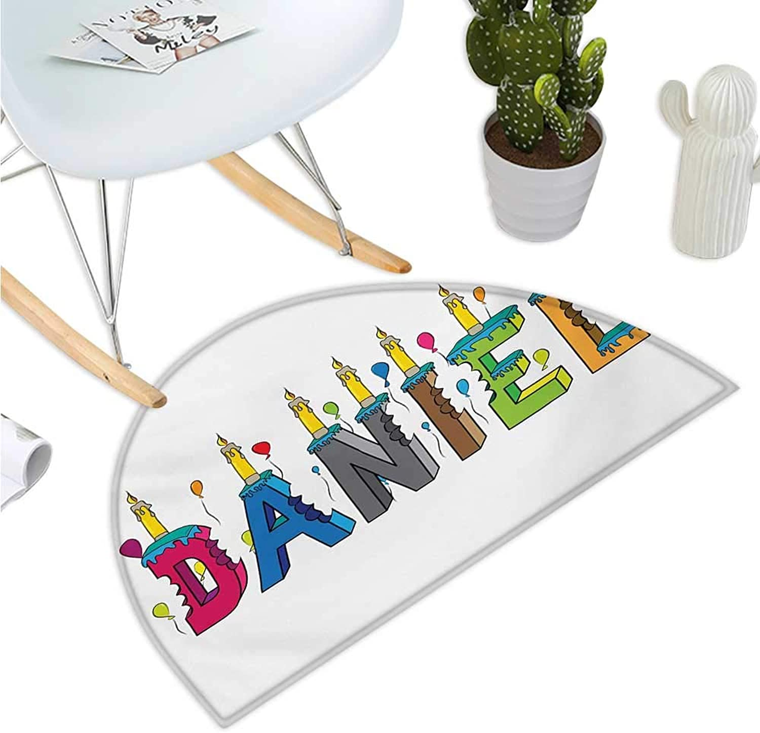 Daniel Semicircular Cushion Grooving Cheerful Male Name with Happy Occasion Birthday Theme Bite Marked Cake Bathroom Mat H 35.4  xD 53.1  Multicolor