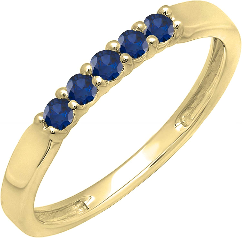 Dazzlingrock Collection 14K Round Gemstone 5 Stone Ladies Anniversary Wedding Band Ring, Yellow Gold