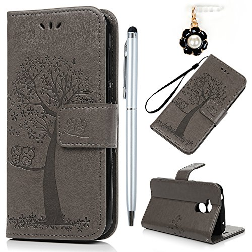 YOKIRIN Huawei Honor 6A Lederhülle Hülle Hülle für Huawei Honor 6A Flipcase Tasche Handyhülle Etui Eule Baum Muster PU Leder Schutzhülle Kartenfächer Magnetverschluss Cover Handyhalter Grau