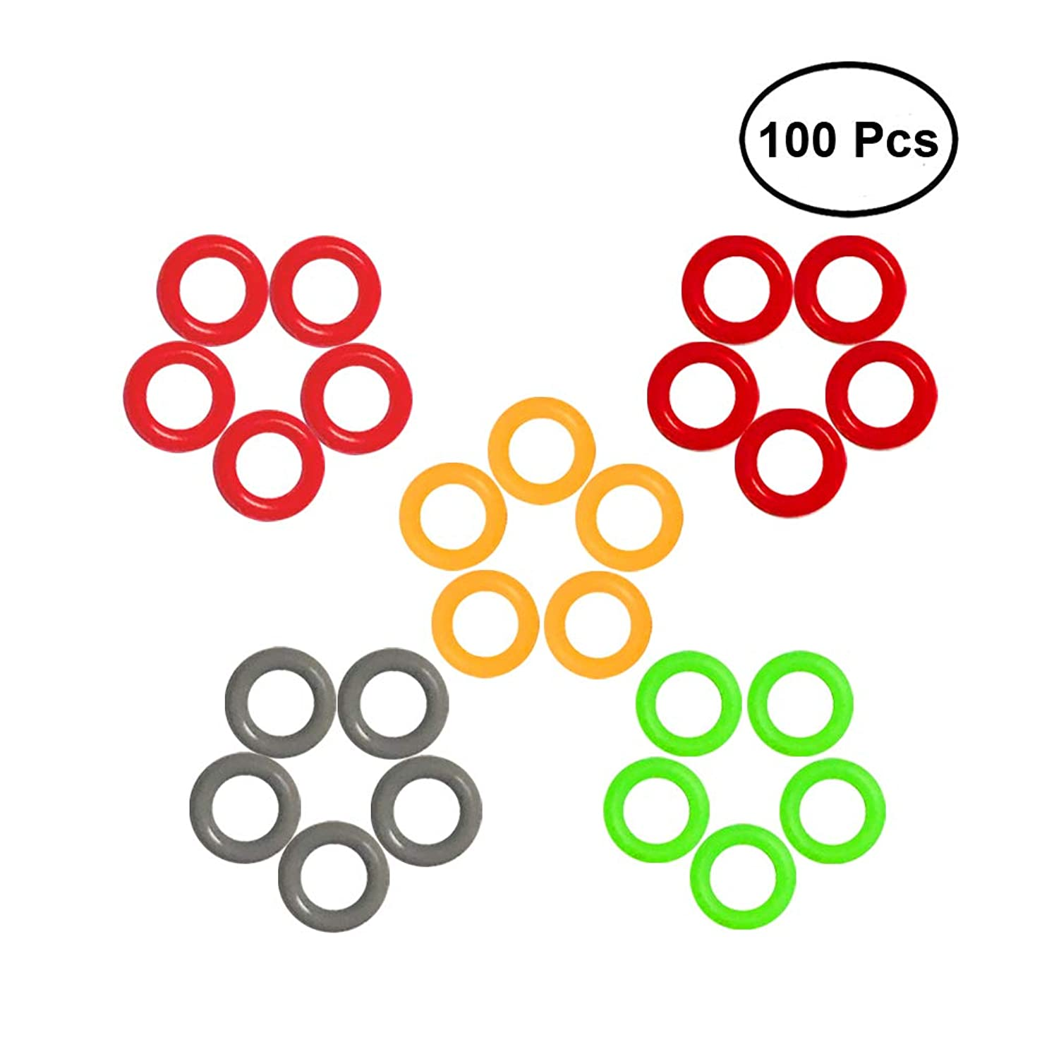 Zhonghuan Colorful Soft O-Rings & Stitch Ring Markers for Knitting/Crochet/etc. (Soft 6mm 100pcs)