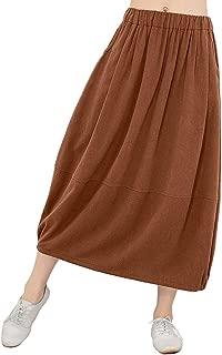 Women's Vintage Loose Linen Elastic Waist Pleated Midi Skirt