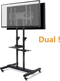 TAVR Dual Mobile TV Stand Rolling TV Cart Floor Stand with 2 TV Brackets on Locking Wheel Height Adjustable Shelf for 32-70 inch Flat/Curved Screen TV Gaming Console Display,Loading 110 lbs MT1002