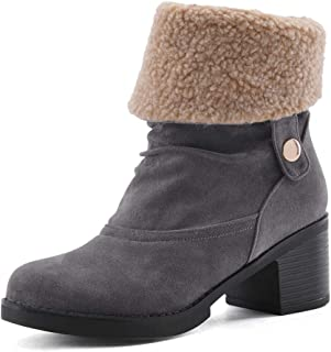 Women's Round-Toe Ankle Chunky Rock Heel Boots Mid-Calf Platform Wedges-Shoes