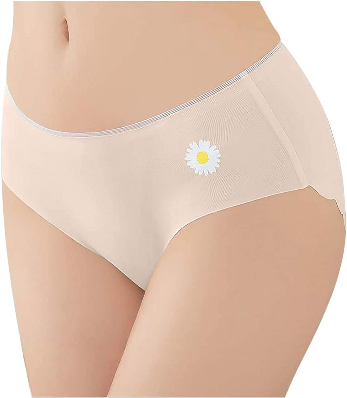 Lingerie for Women,Women's No Show Seamless Underwear Daisy Print Panties Soft Stretch Hipster Bikini Thong