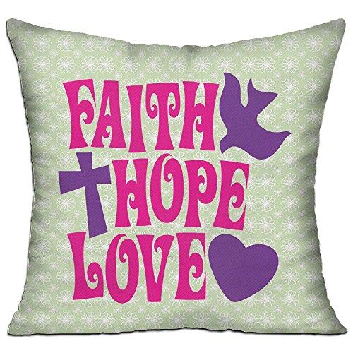 Ojinwangji Faith Hope Love Soft Pillow Print Sofa Pillowcase 18 X 18 Inches,