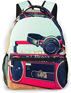 Travel Laptop Backpack Casual Backpack Retro Ghetto Blaster Cassette, Anti Theft Durable Computer Bag, Water Resistant College School Bag for Women Men Fits 14 Inch Notebook