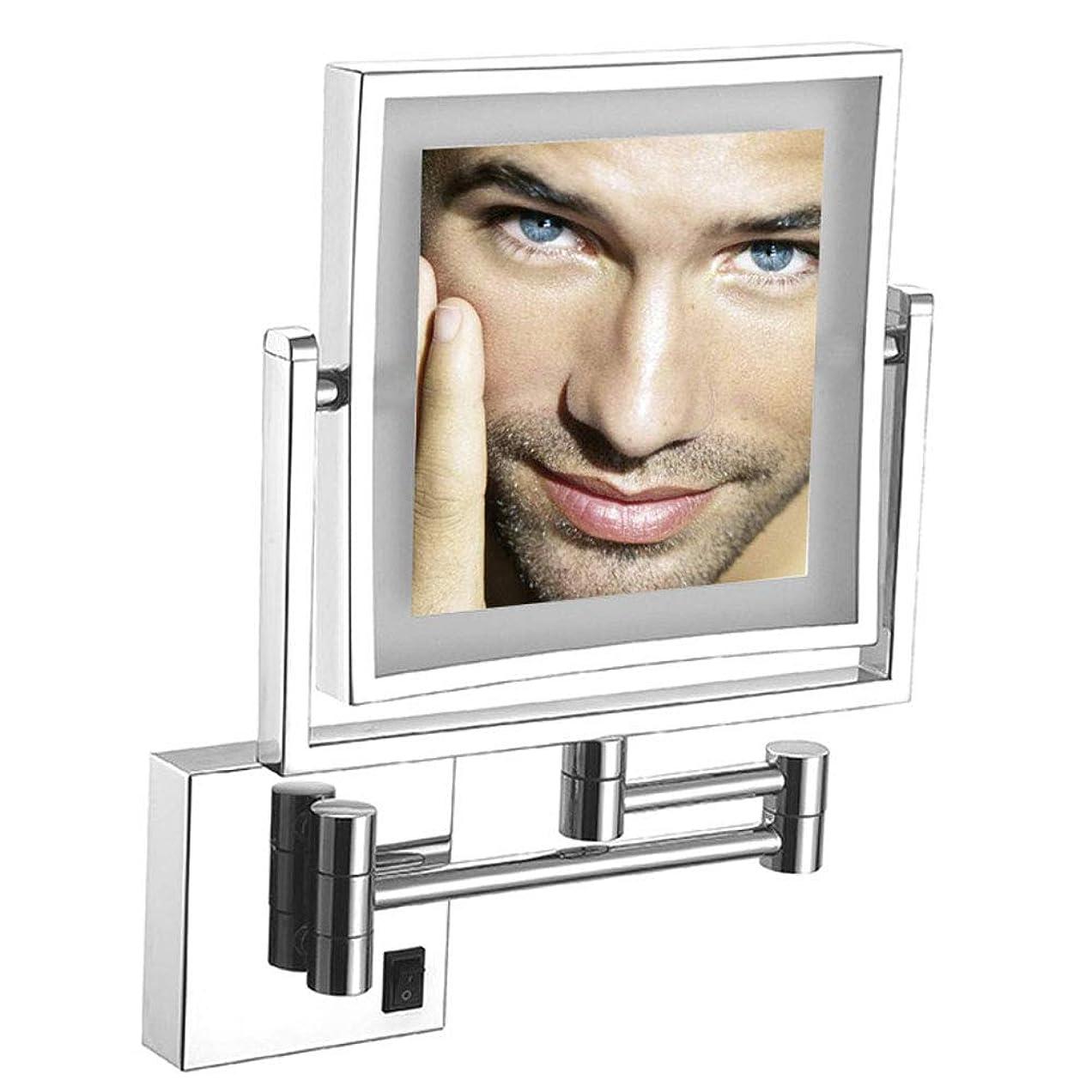 年契約したミルライト付き化粧鏡ウォールマウント、壁掛け照明付き化粧鏡、浴室用8インチ両面360回転化粧品顔拡張可能なバニティミラークロム仕上げ,Plug