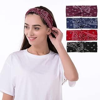 Twinfree 4 Pack Cashew Twist Elastic Turban Headband For Women Headwrap Hairband Headwear Bandana Hair Accessories