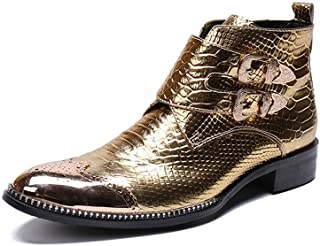 QZMX Ankle Boots for Men's High Top Casual Retro Snakeskin Chelsea Boots Metal Pointed Toe Convenient Zipper Formal Shoes