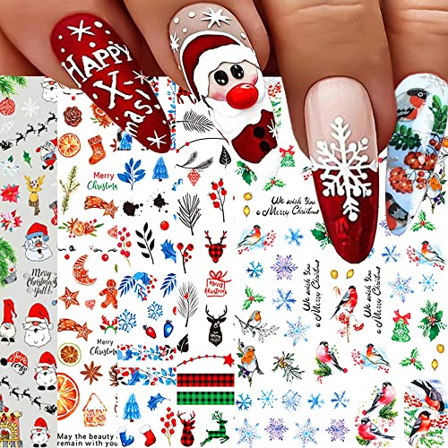 Christmas Nail Art Stickers, Snowflake Nail Decals 3D Self-adhesive Santa Claus Snowflake Snowman Bird Christmas Bell Tree Stick Elk Pattern Xmas Winter Nail Design for Christmas Nail Decoration(8Sheets)