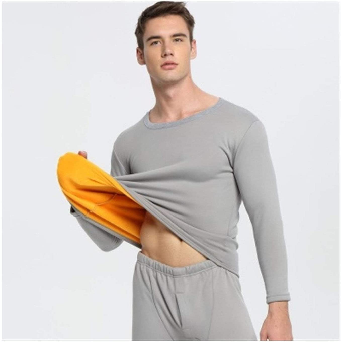 QWERBAM Winter Woman Clothes Thermal Underwear Thermo Men Couple Clothes Keep Warm (Color : Men Light Gray, Size : 3XL.)
