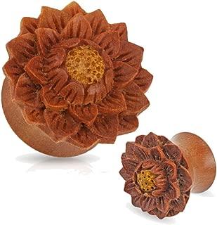 Pair of Organic Jackfruit Lotus Flower Wood Hand Carved Ear Plugs Gauges 0g 00g 1/2 9/16 5/8 3/4 7/8 1 inch