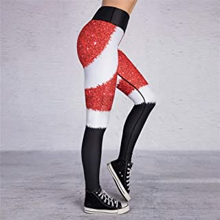 Jinqiuyuan Seamless Leggings Christmas Yoga Pants Leggings Sport Women Fitness High Waist Women's Sports Pants Running Elastic Leggings (Color : Red, Size : L)