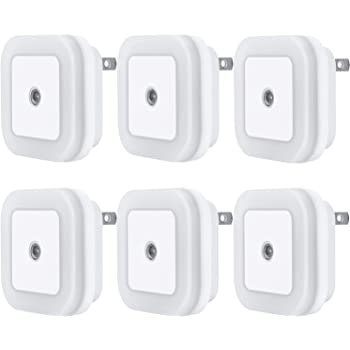 Uigos LED Night Light Lamp with Smart Sensor Dusk to Dawn Sensor, Daylight White, 0.5W Plug-in, 6-Pack